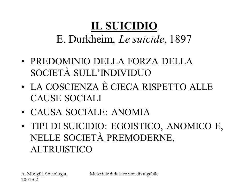 A. Mongili, Sociologia, 2001-02 Materiale didattico non divulgabile IL SUICIDIO E. Durkheim, Le suicide, 1897 PREDOMINIO DELLA FORZA DELLA SOCIETÀ SUL