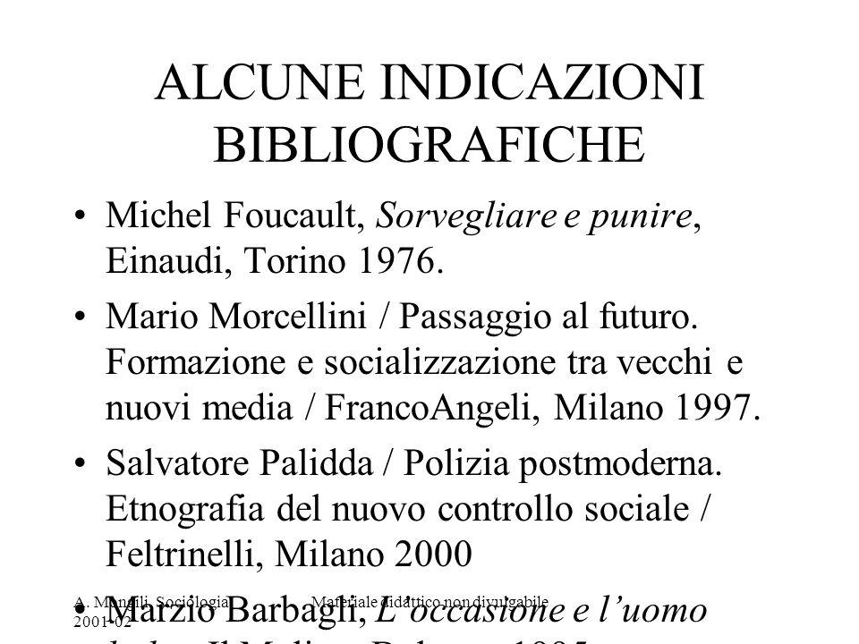 A. Mongili, Sociologia, 2001-02 Materiale didattico non divulgabile ALCUNE INDICAZIONI BIBLIOGRAFICHE Michel Foucault, Sorvegliare e punire, Einaudi,