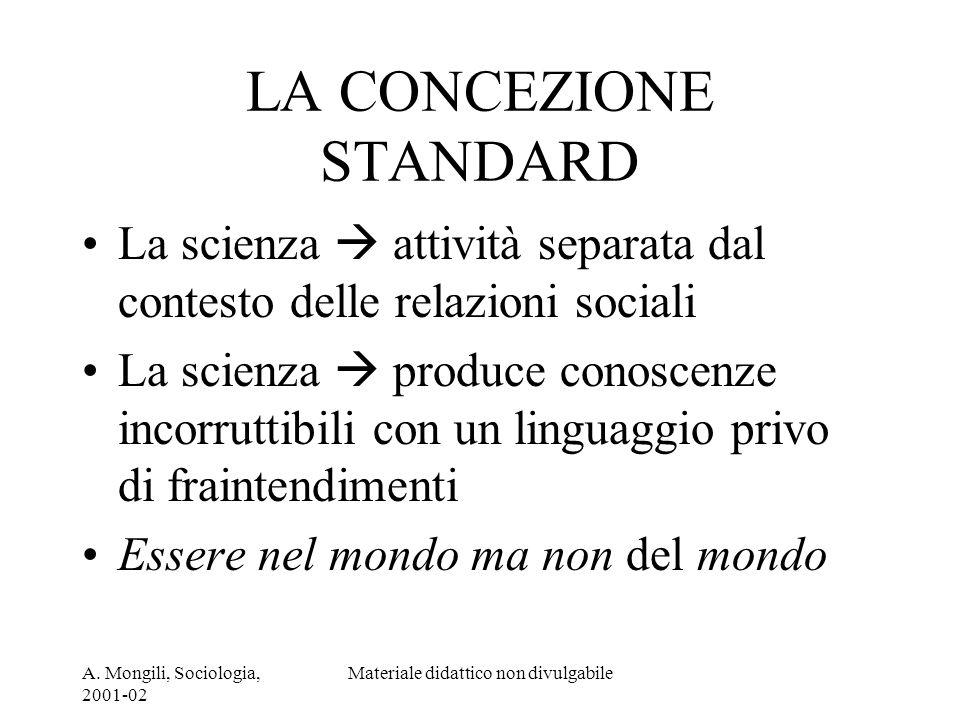 A. Mongili, Sociologia, 2001-02 Materiale didattico non divulgabile LA CONCEZIONE STANDARD La scienza attività separata dal contesto delle relazioni s