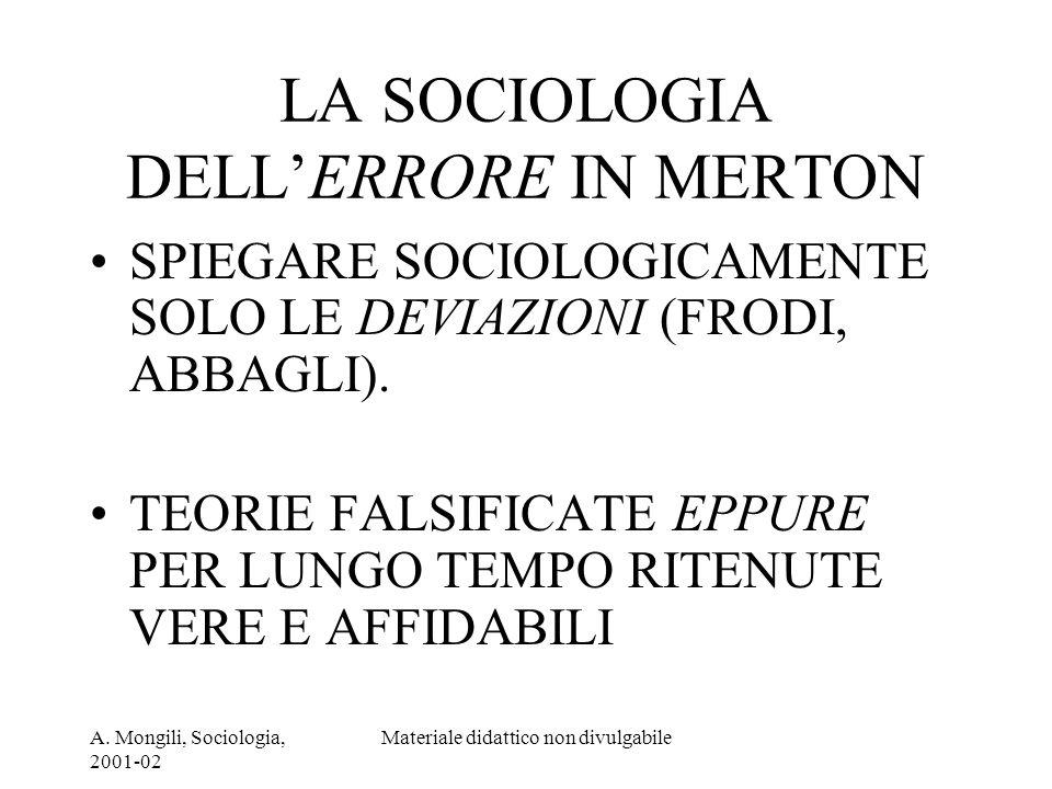 A. Mongili, Sociologia, 2001-02 Materiale didattico non divulgabile LA SOCIOLOGIA DELLERRORE IN MERTON SPIEGARE SOCIOLOGICAMENTE SOLO LE DEVIAZIONI (F