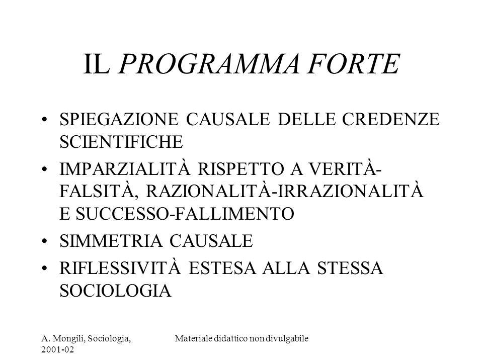 A. Mongili, Sociologia, 2001-02 Materiale didattico non divulgabile IL PROGRAMMA FORTE SPIEGAZIONE CAUSALE DELLE CREDENZE SCIENTIFICHE IMPARZIALITÀ RI