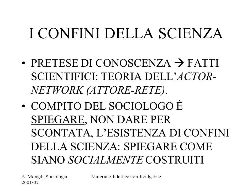 A. Mongili, Sociologia, 2001-02 Materiale didattico non divulgabile I CONFINI DELLA SCIENZA PRETESE DI CONOSCENZA FATTI SCIENTIFICI: TEORIA DELLACTOR-