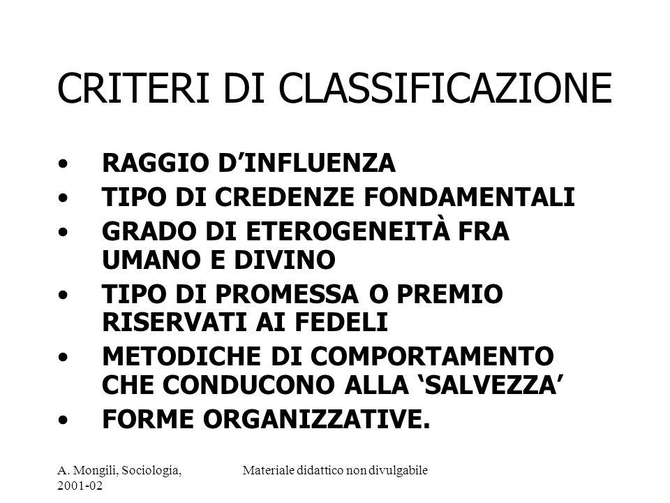 A. Mongili, Sociologia, 2001-02 Materiale didattico non divulgabile CRITERI DI CLASSIFICAZIONE RAGGIO DINFLUENZA TIPO DI CREDENZE FONDAMENTALI GRADO D