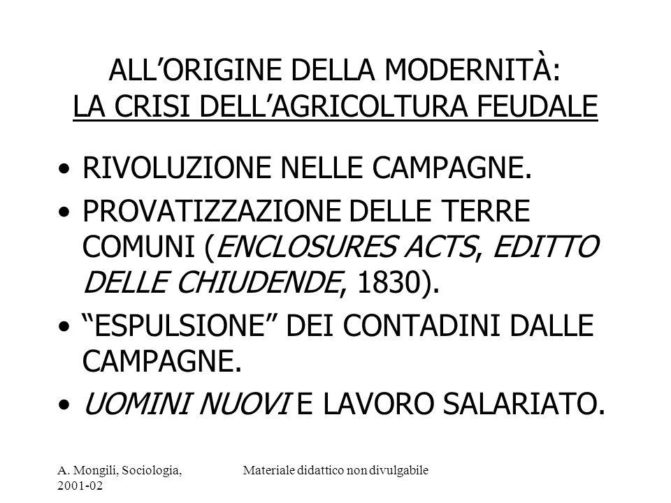 A. Mongili, Sociologia, 2001-02 Materiale didattico non divulgabile ALLORIGINE DELLA MODERNITÀ: LA CRISI DELLAGRICOLTURA FEUDALE RIVOLUZIONE NELLE CAM