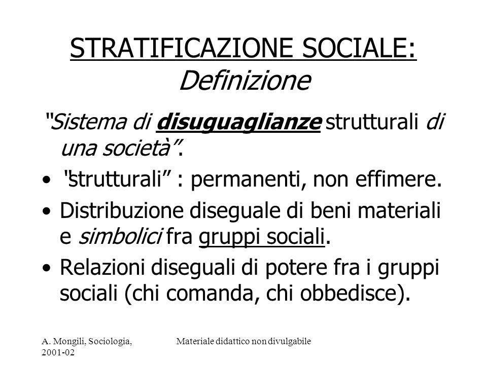 A. Mongili, Sociologia, 2001-02 Materiale didattico non divulgabile STRATIFICAZIONE SOCIALE: Definizione Sistema di disuguaglianze strutturali di una