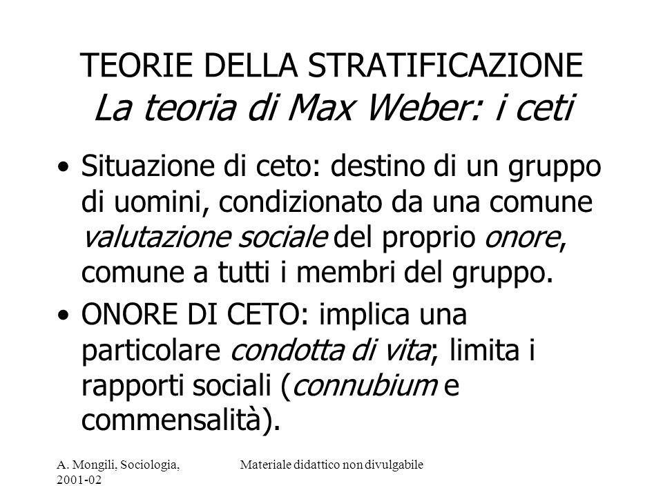 A. Mongili, Sociologia, 2001-02 Materiale didattico non divulgabile TEORIE DELLA STRATIFICAZIONE La teoria di Max Weber: i ceti Situazione di ceto: de