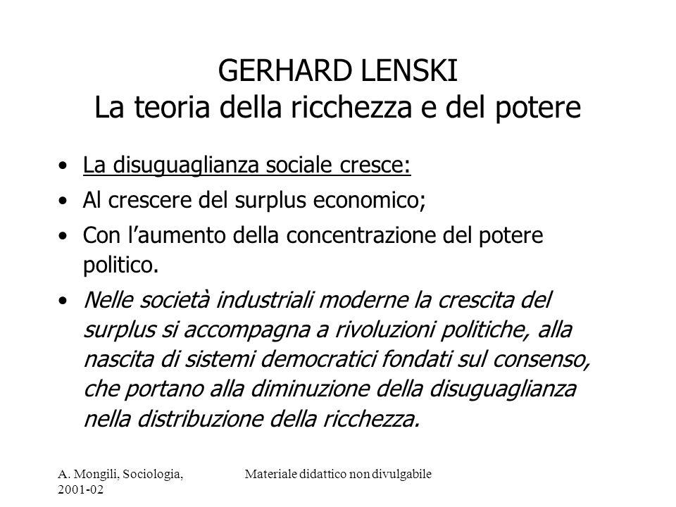 A. Mongili, Sociologia, 2001-02 Materiale didattico non divulgabile GERHARD LENSKI La teoria della ricchezza e del potere La disuguaglianza sociale cr