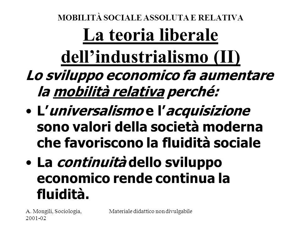 A. Mongili, Sociologia, 2001-02 Materiale didattico non divulgabile MOBILITÀ SOCIALE ASSOLUTA E RELATIVA La teoria liberale dellindustrialismo (II) Lo