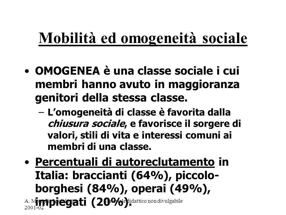 A. Mongili, Sociologia, 2001-02 Materiale didattico non divulgabile Mobilità ed omogeneità sociale OMOGENEA è una classe sociale i cui membri hanno av