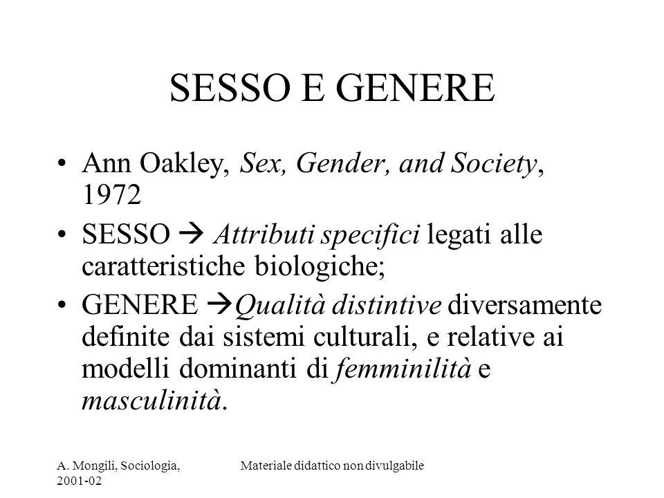 A. Mongili, Sociologia, 2001-02 Materiale didattico non divulgabile SESSO E GENERE Ann Oakley, Sex, Gender, and Society, 1972 SESSO Attributi specific