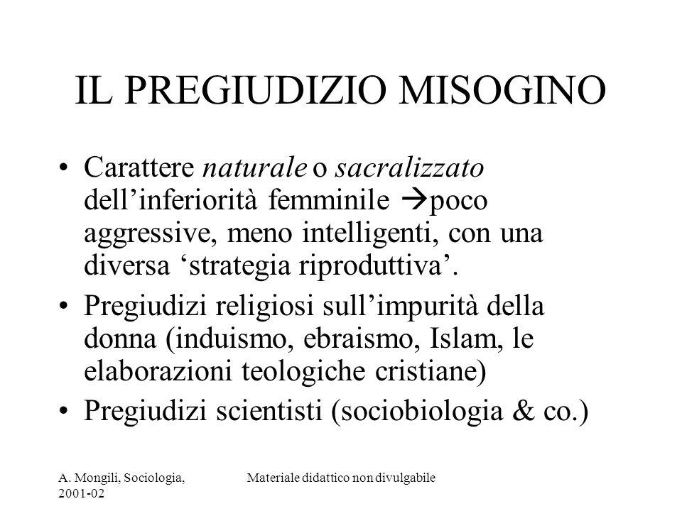 A. Mongili, Sociologia, 2001-02 Materiale didattico non divulgabile IL PREGIUDIZIO MISOGINO Carattere naturale o sacralizzato dellinferiorità femminil