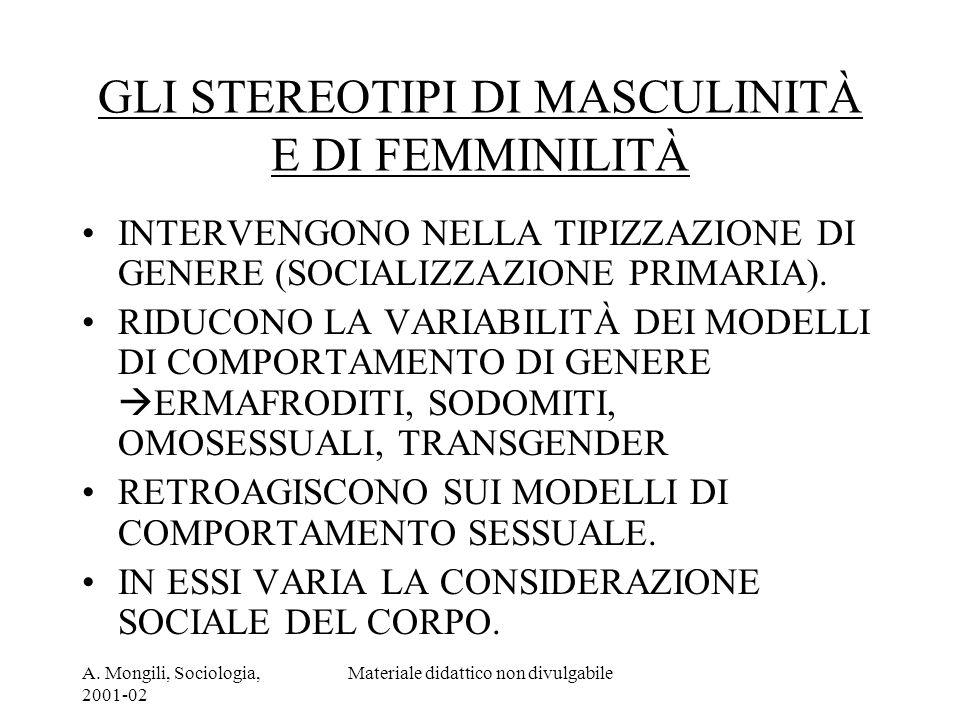 A. Mongili, Sociologia, 2001-02 Materiale didattico non divulgabile GLI STEREOTIPI DI MASCULINITÀ E DI FEMMINILITÀ INTERVENGONO NELLA TIPIZZAZIONE DI
