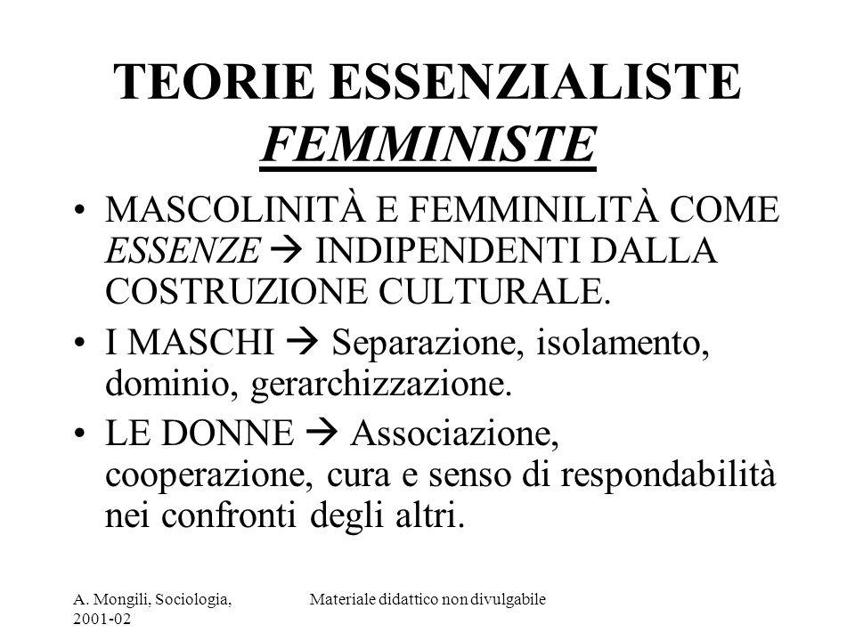 A. Mongili, Sociologia, 2001-02 Materiale didattico non divulgabile TEORIE ESSENZIALISTE FEMMINISTE MASCOLINITÀ E FEMMINILITÀ COME ESSENZE INDIPENDENT