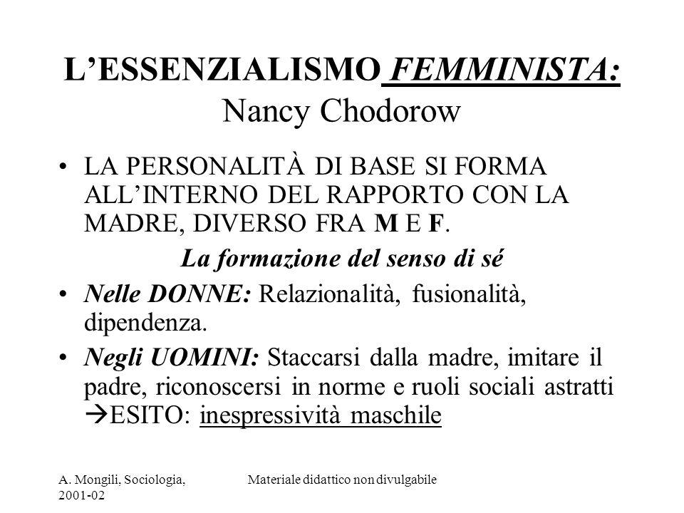 A. Mongili, Sociologia, 2001-02 Materiale didattico non divulgabile LESSENZIALISMO FEMMINISTA: Nancy Chodorow LA PERSONALITÀ DI BASE SI FORMA ALLINTER