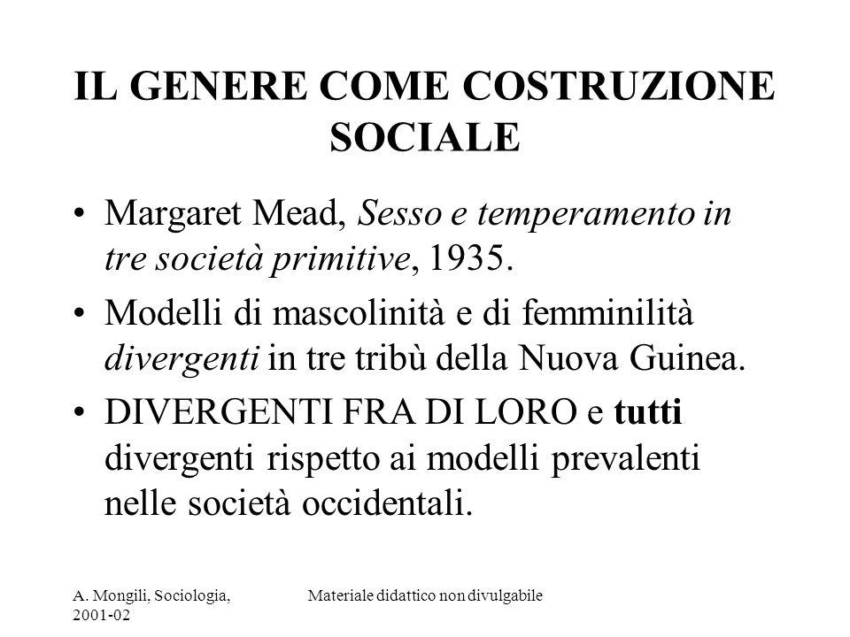 A. Mongili, Sociologia, 2001-02 Materiale didattico non divulgabile IL GENERE COME COSTRUZIONE SOCIALE Margaret Mead, Sesso e temperamento in tre soci