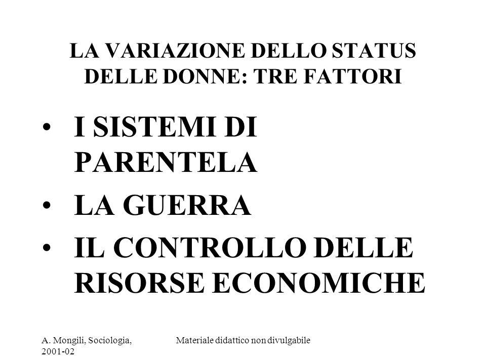 A. Mongili, Sociologia, 2001-02 Materiale didattico non divulgabile LA VARIAZIONE DELLO STATUS DELLE DONNE: TRE FATTORI I SISTEMI DI PARENTELA LA GUER