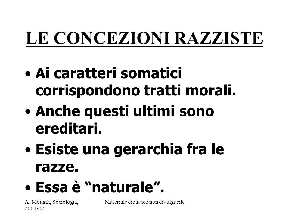 A. Mongili, Sociologia, 2001-02 Materiale didattico non divulgabile LE CONCEZIONI RAZZISTE Ai caratteri somatici corrispondono tratti morali. Anche qu