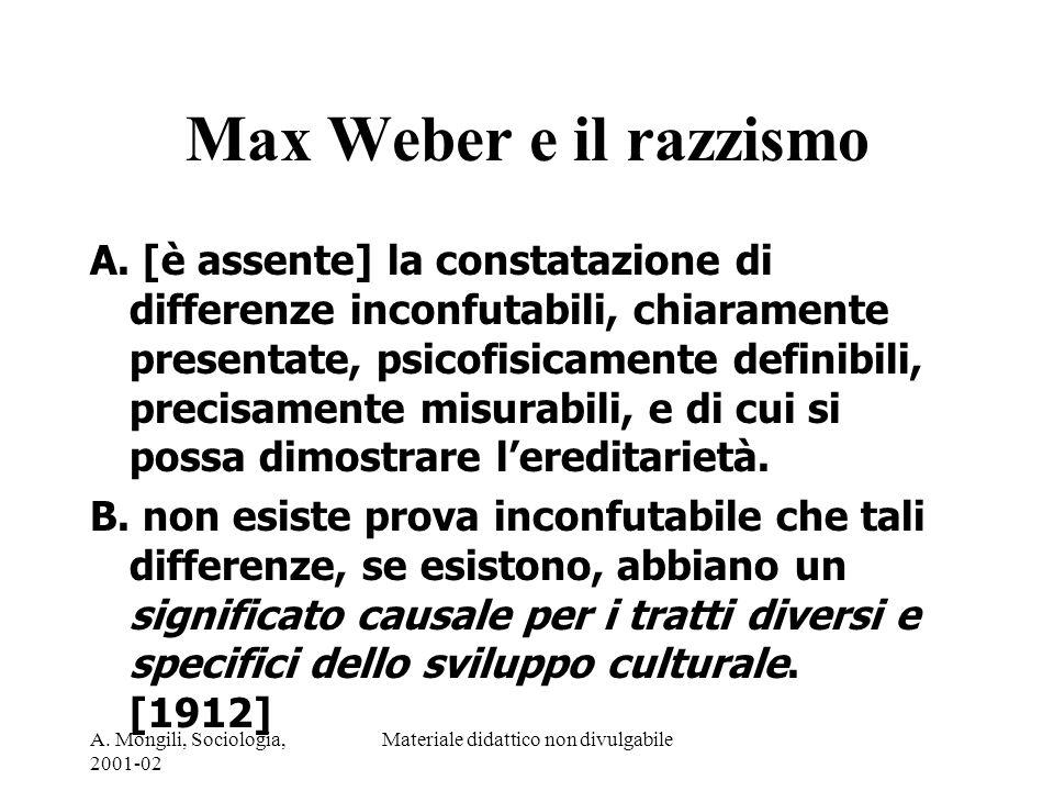 A. Mongili, Sociologia, 2001-02 Materiale didattico non divulgabile Max Weber e il razzismo A. [è assente] la constatazione di differenze inconfutabil