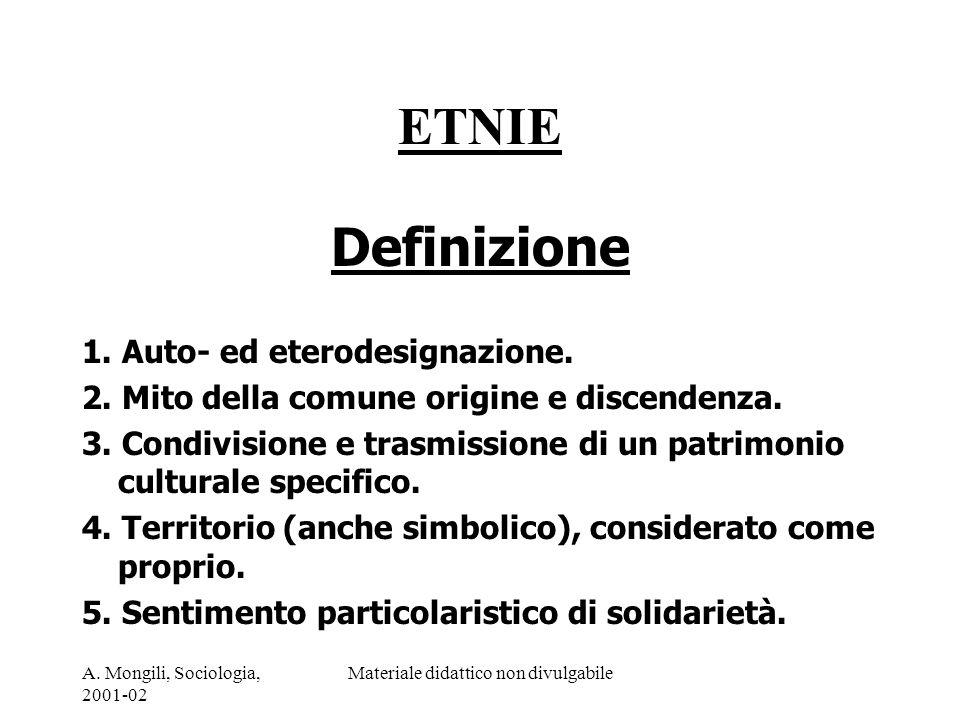 A. Mongili, Sociologia, 2001-02 Materiale didattico non divulgabile ETNIE Definizione 1. Auto- ed eterodesignazione. 2. Mito della comune origine e di