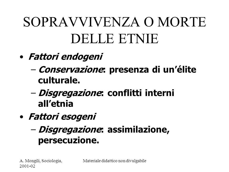 A. Mongili, Sociologia, 2001-02 Materiale didattico non divulgabile SOPRAVVIVENZA O MORTE DELLE ETNIE Fattori endogeni –Conservazione: presenza di uné