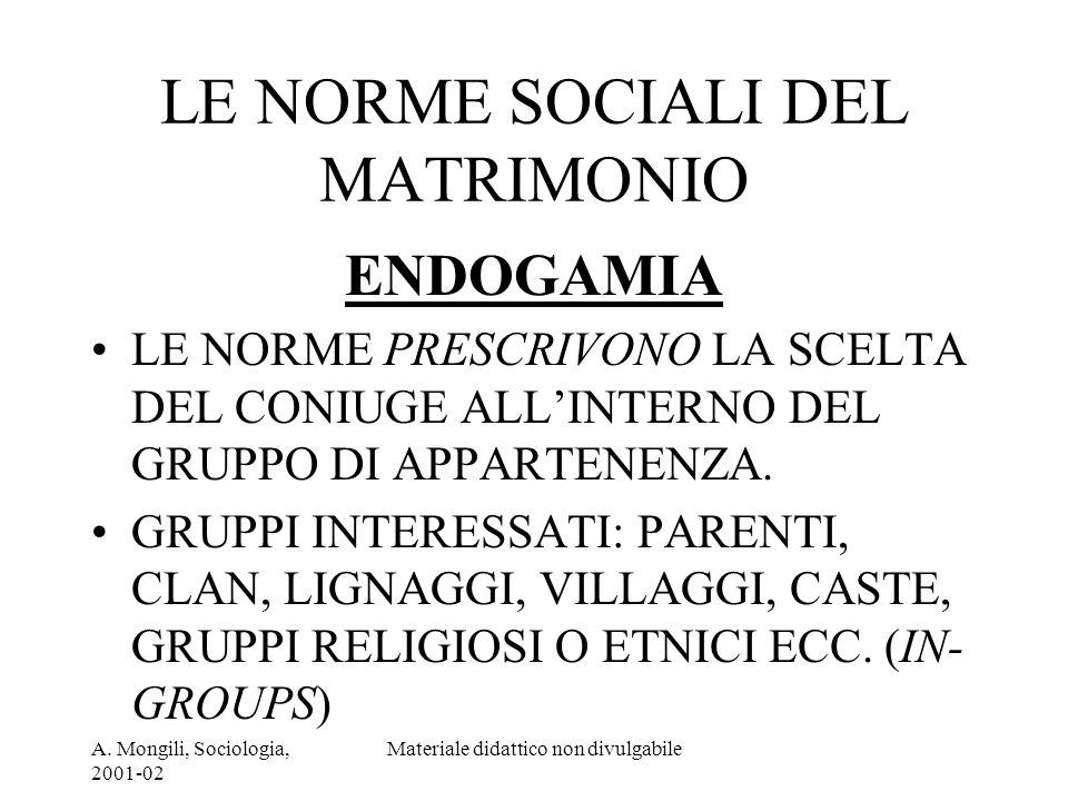 A. Mongili, Sociologia, 2001-02 Materiale didattico non divulgabile LE NORME SOCIALI DEL MATRIMONIO ENDOGAMIA LE NORME PRESCRIVONO LA SCELTA DEL CONIU