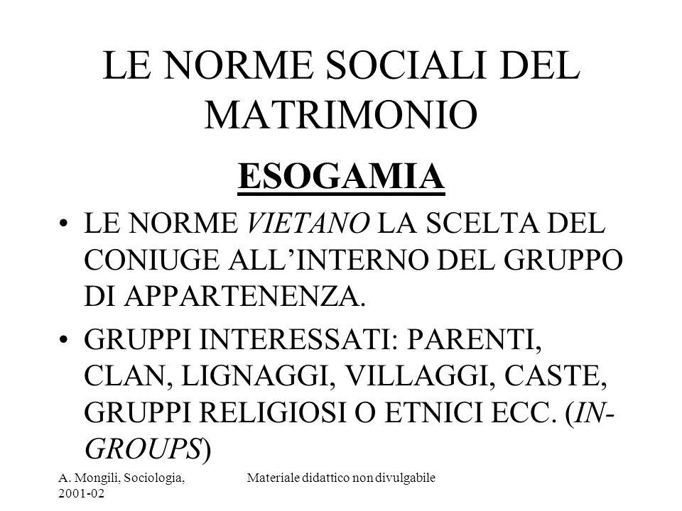 A. Mongili, Sociologia, 2001-02 Materiale didattico non divulgabile LE NORME SOCIALI DEL MATRIMONIO ESOGAMIA LE NORME VIETANO LA SCELTA DEL CONIUGE AL