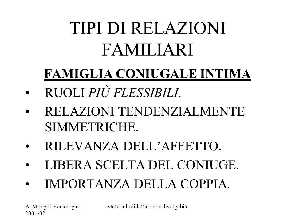A. Mongili, Sociologia, 2001-02 Materiale didattico non divulgabile TIPI DI RELAZIONI FAMILIARI FAMIGLIA CONIUGALE INTIMA RUOLI PIÙ FLESSIBILI. RELAZI