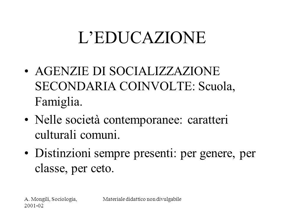 A. Mongili, Sociologia, 2001-02 Materiale didattico non divulgabile LEDUCAZIONE AGENZIE DI SOCIALIZZAZIONE SECONDARIA COINVOLTE: Scuola, Famiglia. Nel
