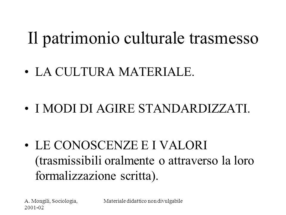 A. Mongili, Sociologia, 2001-02 Materiale didattico non divulgabile Il patrimonio culturale trasmesso LA CULTURA MATERIALE. I MODI DI AGIRE STANDARDIZ