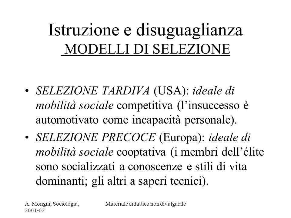 A. Mongili, Sociologia, 2001-02 Materiale didattico non divulgabile Istruzione e disuguaglianza MODELLI DI SELEZIONE SELEZIONE TARDIVA (USA): ideale d
