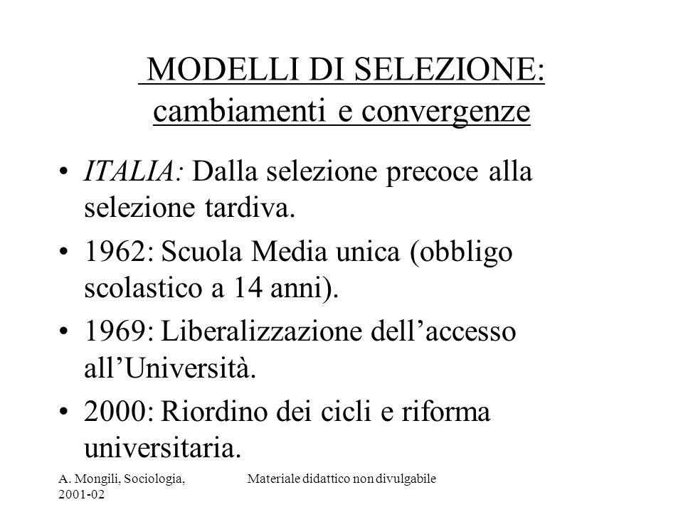 A. Mongili, Sociologia, 2001-02 Materiale didattico non divulgabile MODELLI DI SELEZIONE: cambiamenti e convergenze ITALIA: Dalla selezione precoce al