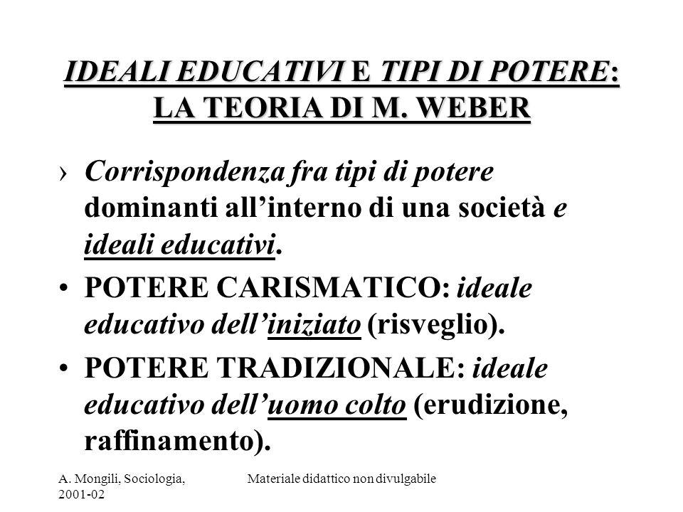 A. Mongili, Sociologia, 2001-02 Materiale didattico non divulgabile IDEALI EDUCATIVI E TIPI DI POTERE: LA TEORIA DI M. WEBER Corrispondenza fra tipi d