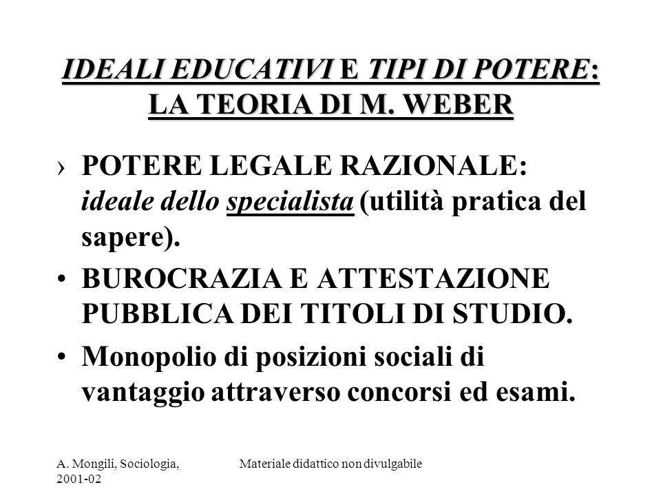 A. Mongili, Sociologia, 2001-02 Materiale didattico non divulgabile IDEALI EDUCATIVI E TIPI DI POTERE: LA TEORIA DI M. WEBER POTERE LEGALE RAZIONALE: