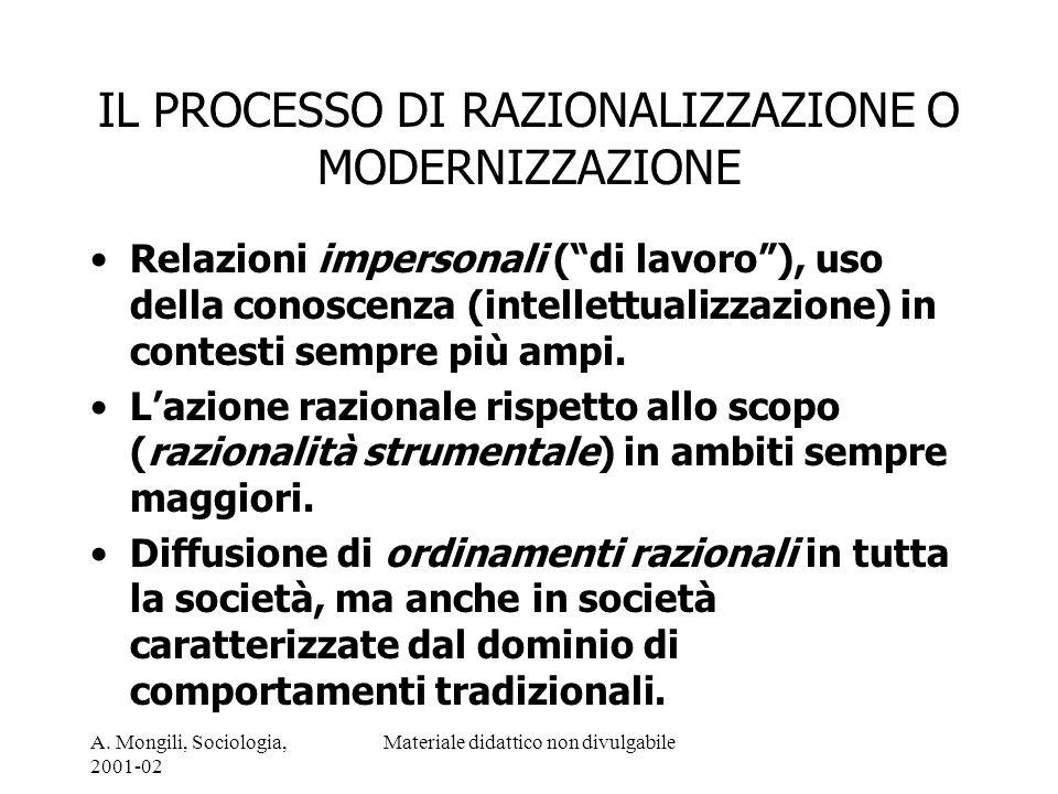 A. Mongili, Sociologia, 2001-02 Materiale didattico non divulgabile IL PROCESSO DI RAZIONALIZZAZIONE O MODERNIZZAZIONE Relazioni impersonali (di lavor