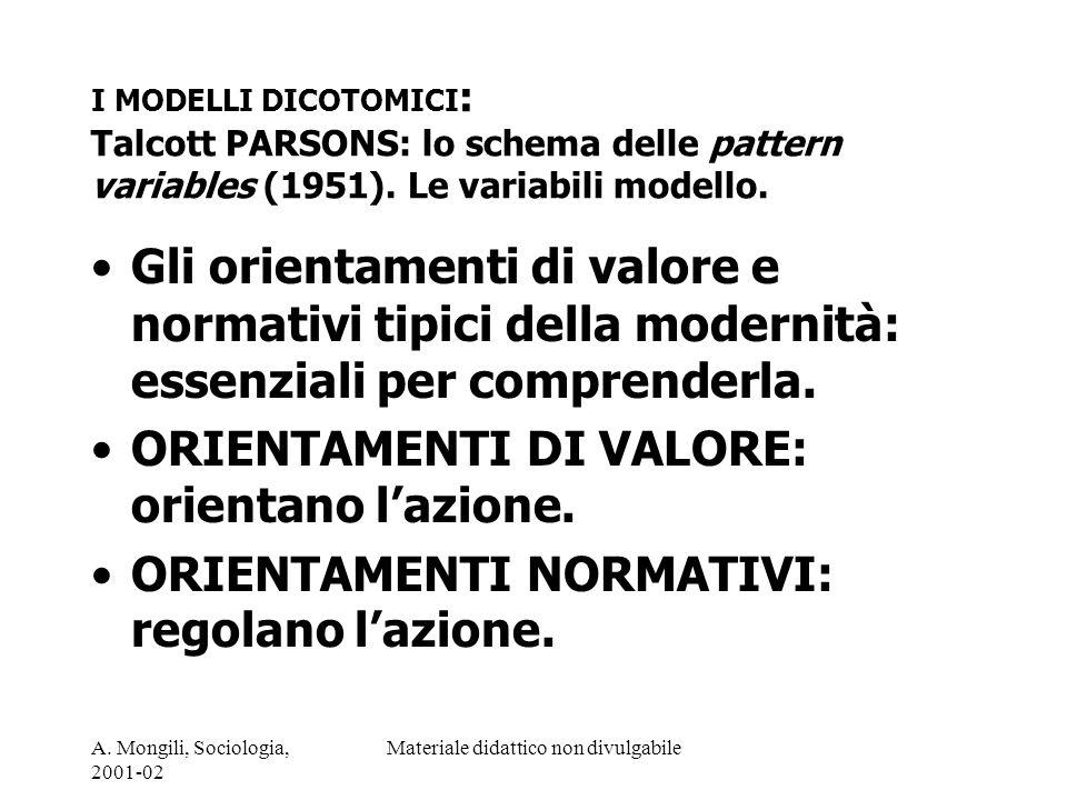 A. Mongili, Sociologia, 2001-02 Materiale didattico non divulgabile I MODELLI DICOTOMICI : Talcott PARSONS: lo schema delle pattern variables (1951).