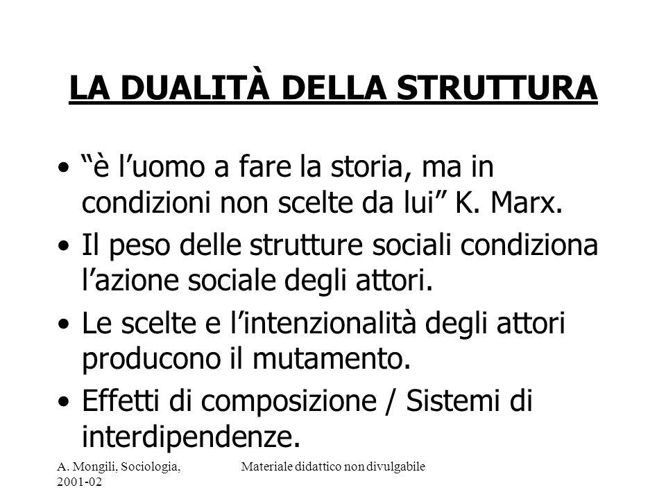 A. Mongili, Sociologia, 2001-02 Materiale didattico non divulgabile LA DUALITÀ DELLA STRUTTURA è luomo a fare la storia, ma in condizioni non scelte d