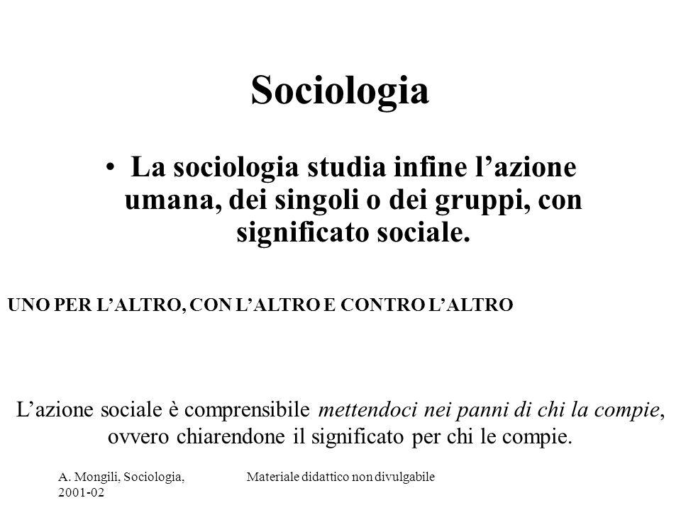 A. Mongili, Sociologia, 2001-02 Materiale didattico non divulgabile Sociologia La sociologia studia infine lazione umana, dei singoli o dei gruppi, co