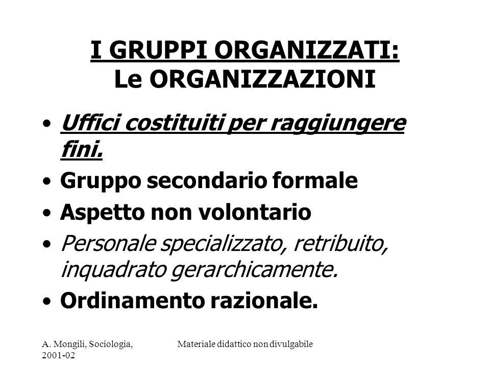 A. Mongili, Sociologia, 2001-02 Materiale didattico non divulgabile I GRUPPI ORGANIZZATI: Le ORGANIZZAZIONI Uffici costituiti per raggiungere fini. Gr