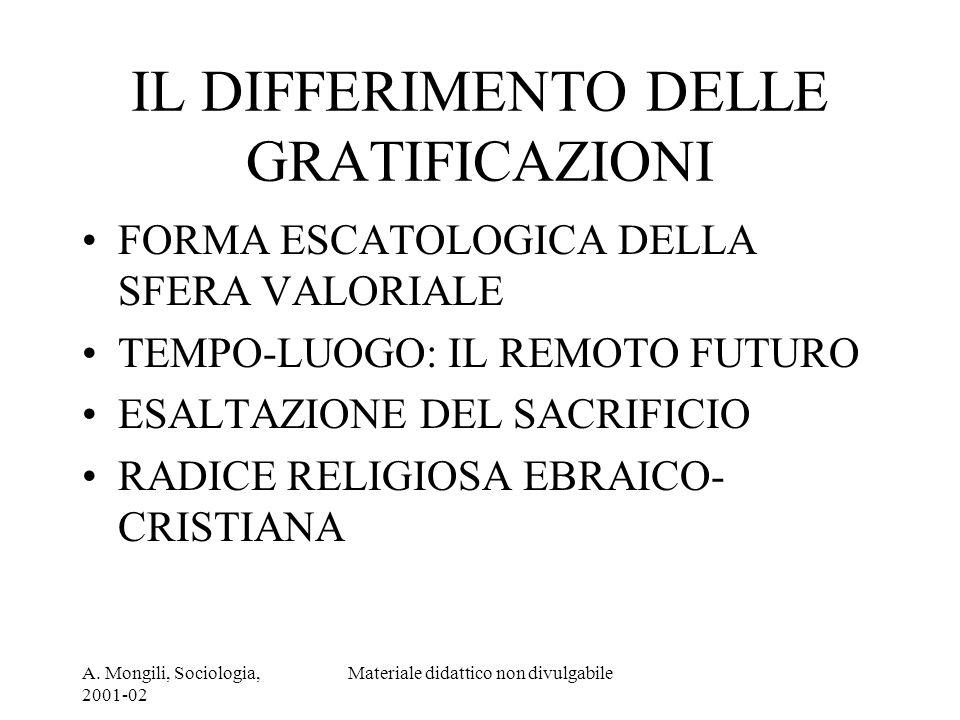A. Mongili, Sociologia, 2001-02 Materiale didattico non divulgabile IL DIFFERIMENTO DELLE GRATIFICAZIONI FORMA ESCATOLOGICA DELLA SFERA VALORIALE TEMP
