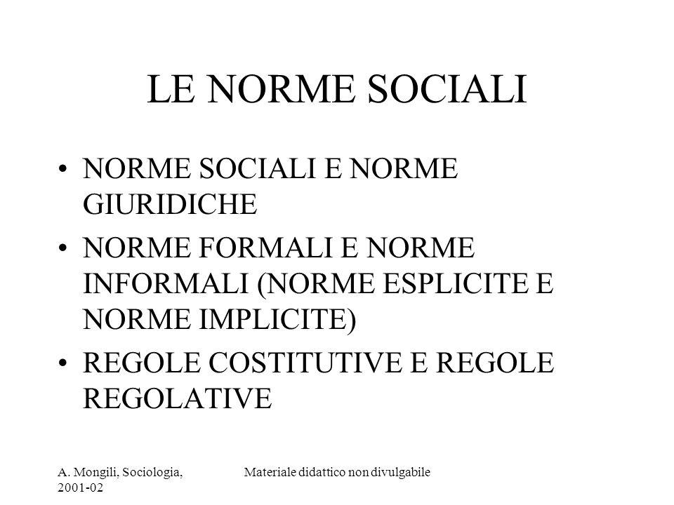 A. Mongili, Sociologia, 2001-02 Materiale didattico non divulgabile LE NORME SOCIALI NORME SOCIALI E NORME GIURIDICHE NORME FORMALI E NORME INFORMALI