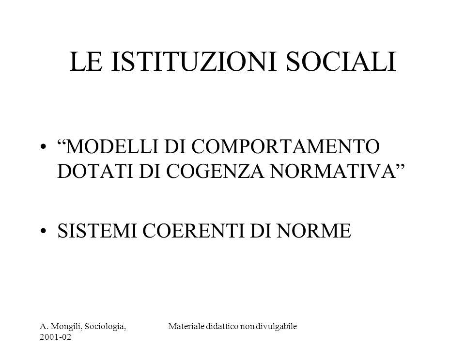 A. Mongili, Sociologia, 2001-02 Materiale didattico non divulgabile LE ISTITUZIONI SOCIALI MODELLI DI COMPORTAMENTO DOTATI DI COGENZA NORMATIVA SISTEM
