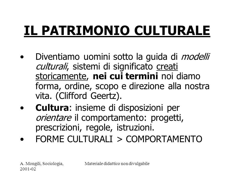A. Mongili, Sociologia, 2001-02 Materiale didattico non divulgabile IL PATRIMONIO CULTURALE Diventiamo uomini sotto la guida di modelli culturali, sis