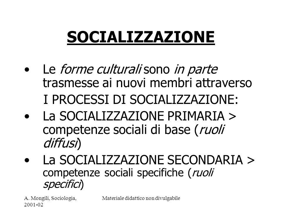 A. Mongili, Sociologia, 2001-02 Materiale didattico non divulgabile SOCIALIZZAZIONE Le forme culturali sono in parte trasmesse ai nuovi membri attrave