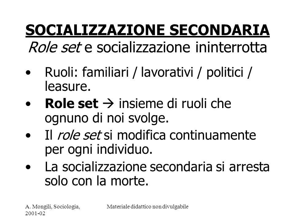 A. Mongili, Sociologia, 2001-02 Materiale didattico non divulgabile SOCIALIZZAZIONE SECONDARIA Role set e socializzazione ininterrotta Ruoli: familiar