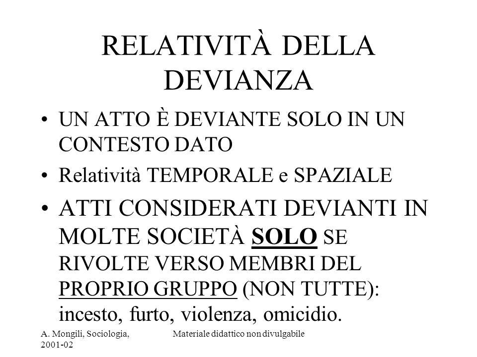 A. Mongili, Sociologia, 2001-02 Materiale didattico non divulgabile RELATIVITÀ DELLA DEVIANZA UN ATTO È DEVIANTE SOLO IN UN CONTESTO DATO Relatività T