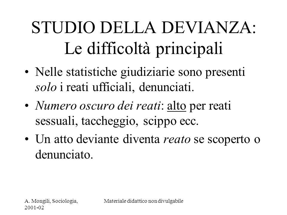 A. Mongili, Sociologia, 2001-02 Materiale didattico non divulgabile STUDIO DELLA DEVIANZA: Le difficoltà principali Nelle statistiche giudiziarie sono