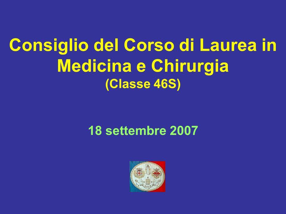 Consiglio del Corso di Laurea in Medicina e Chirurgia (Classe 46S) 18 settembre 2007