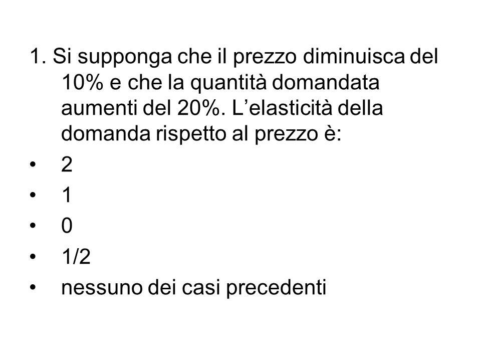 1. Si supponga che il prezzo diminuisca del 10% e che la quantità domandata aumenti del 20%. Lelasticità della domanda rispetto al prezzo è: 2 1 0 1/2