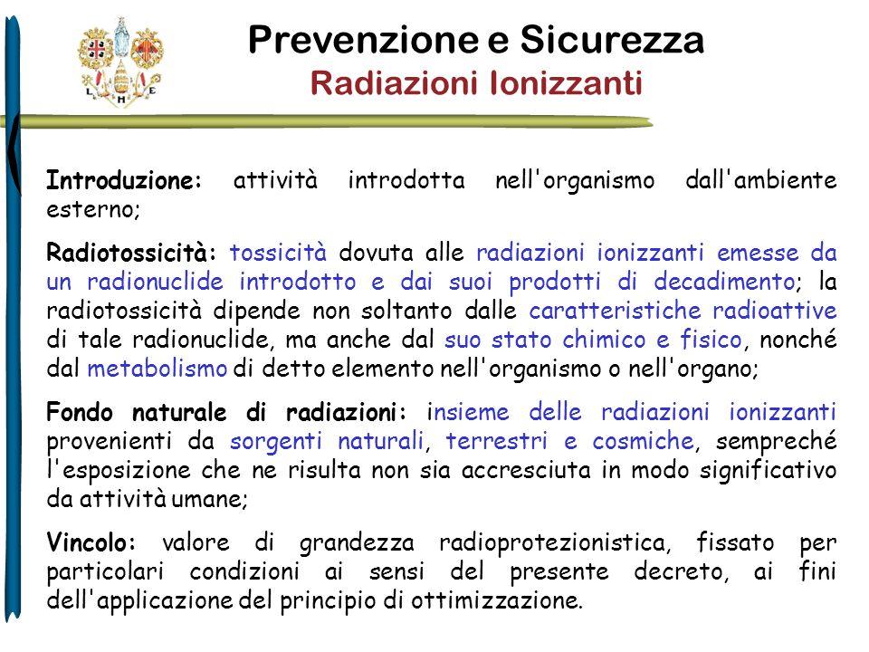 Introduzione: attività introdotta nell'organismo dall'ambiente esterno; Radiotossicità: tossicità dovuta alle radiazioni ionizzanti emesse da un radio