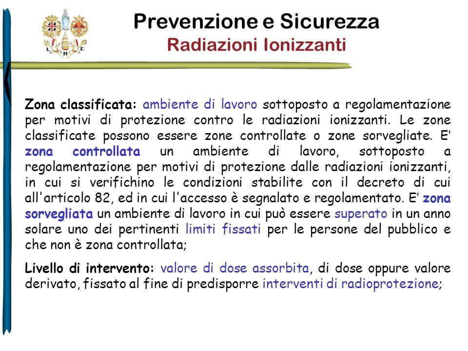 Zona classificata: ambiente di lavoro sottoposto a regolamentazione per motivi di protezione contro le radiazioni ionizzanti. Le zone classificate pos